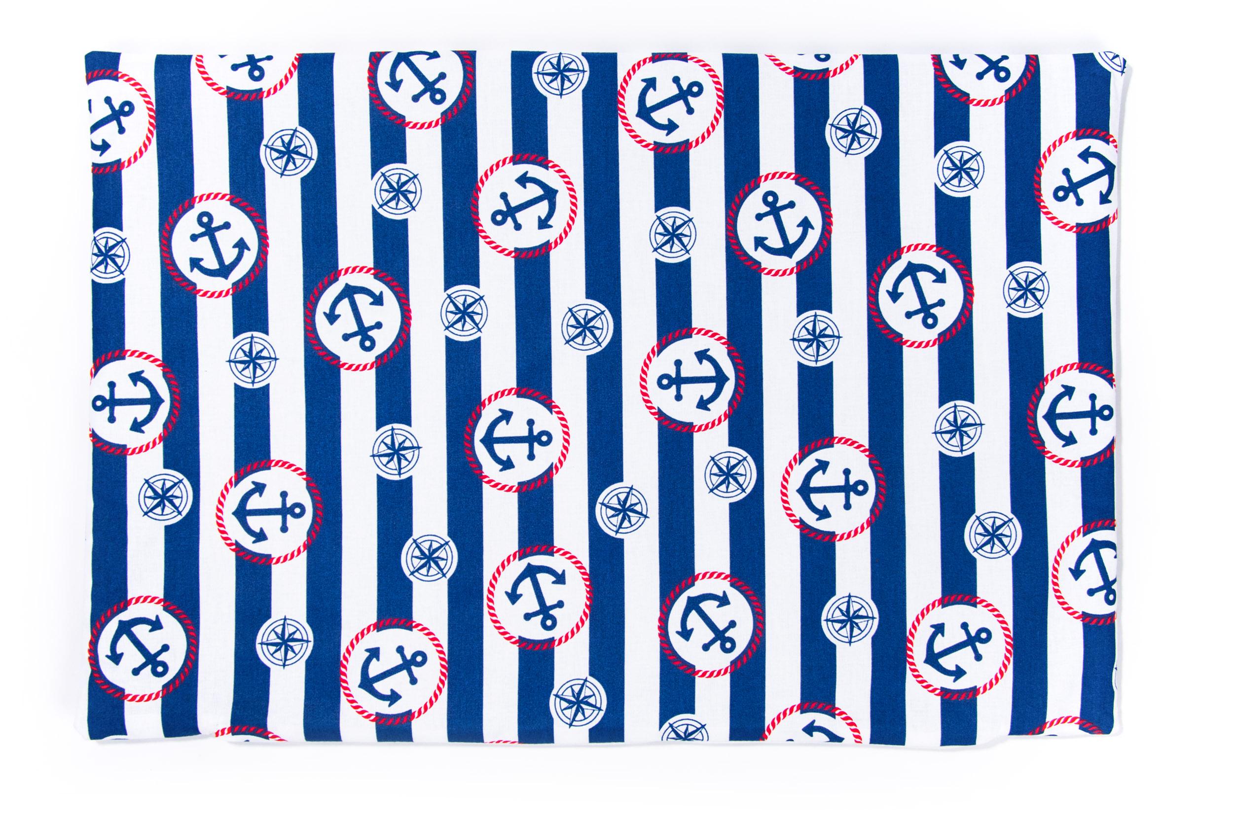 Kissenbezug 40cm x 60cm Streifen Blau mit Anker