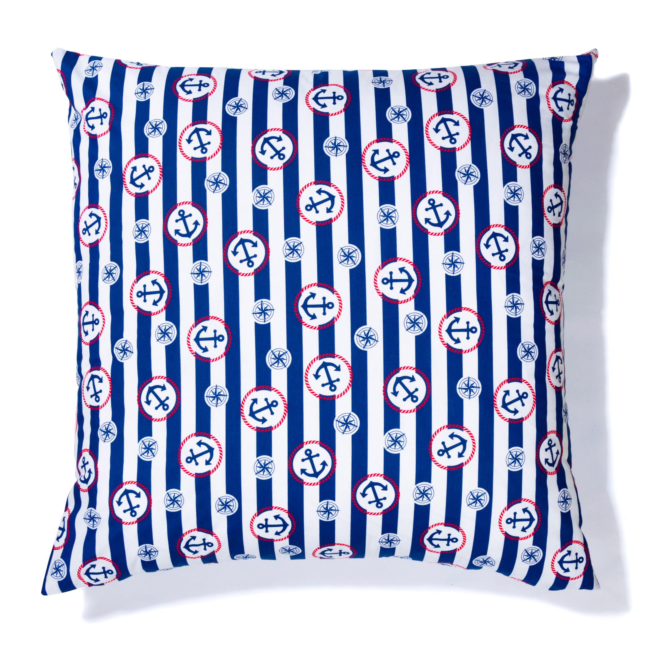 Kissen mit Füllung 80cm x 80cm Streifen Blau mit Anker Dekokissen