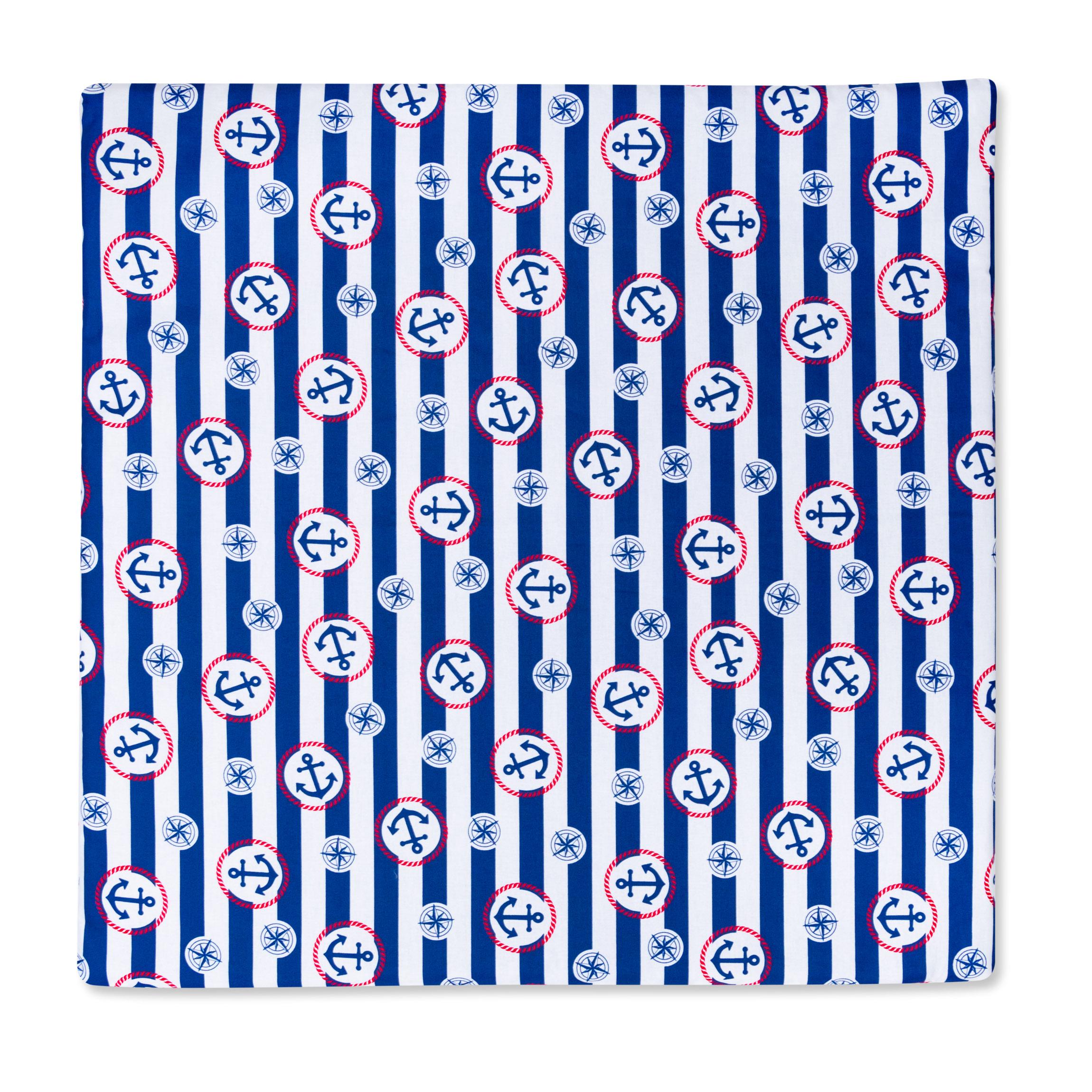 Kissenbezug 80cm x 80cm Streifen Blau mit Anker