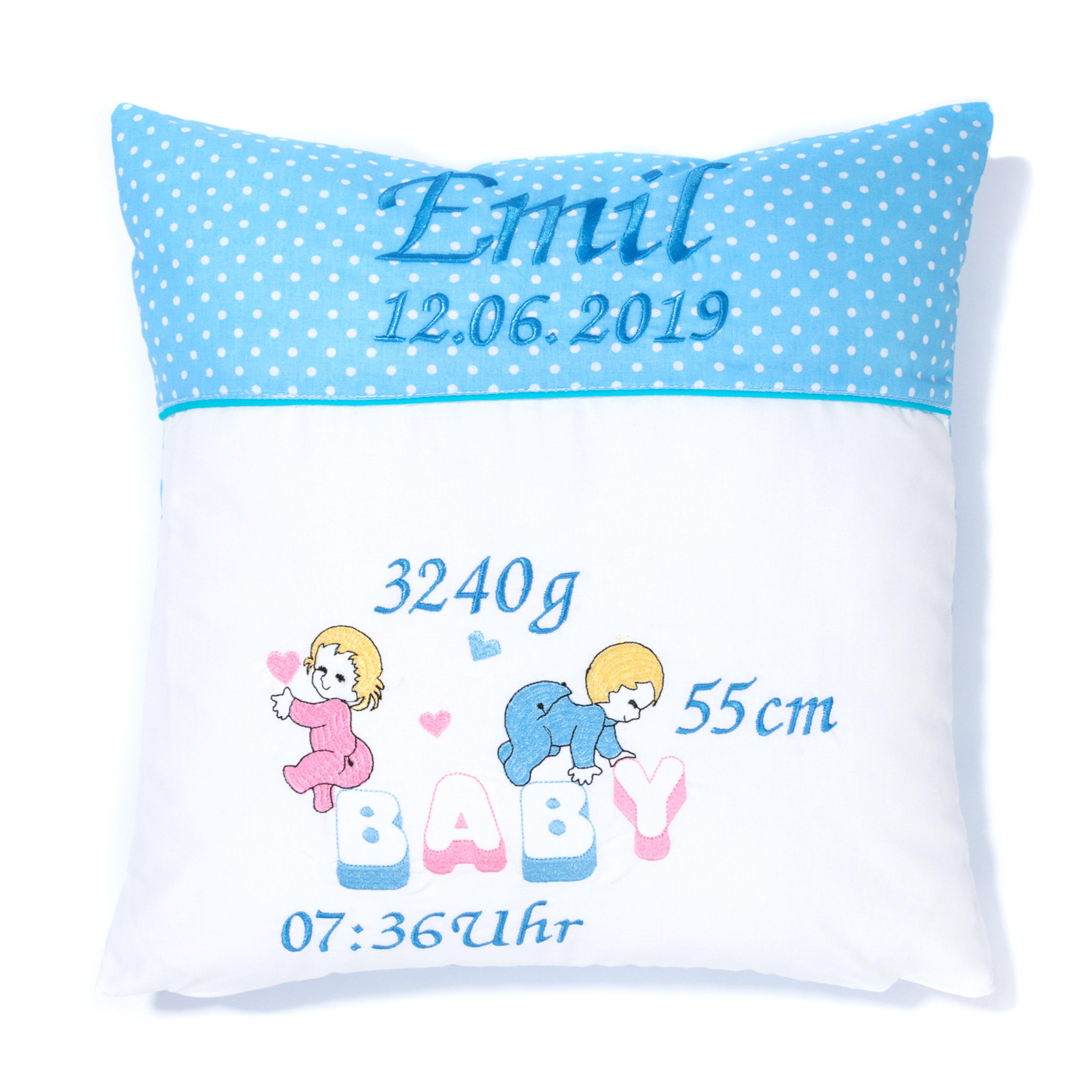 Kissen 40 x 40 cm mit Namen Datum Pünktchen Hellblau BABY